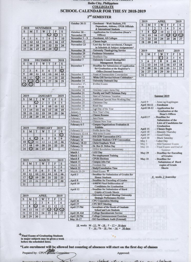 College Calendar Sy 2018 2019 Central Philippine University