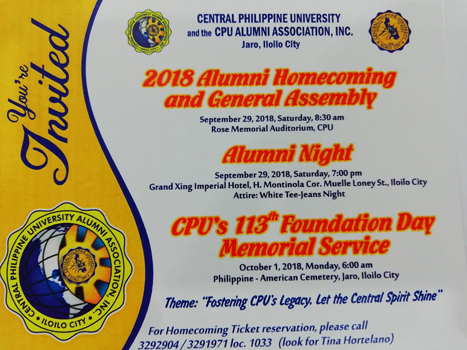 Cpuaai Invites Alumni To The 2018 Alumni Homecoming And General