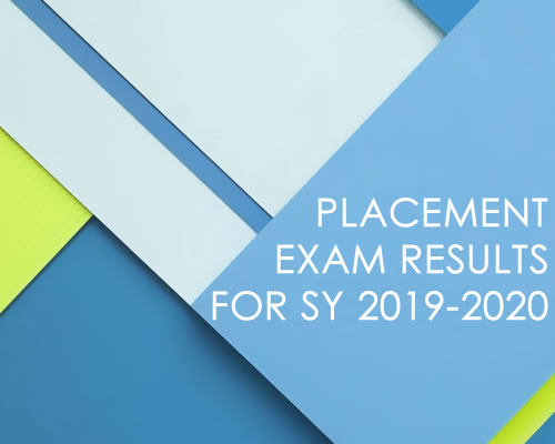 Placement Exam Results for SY 2019-2020 | Central Philippine